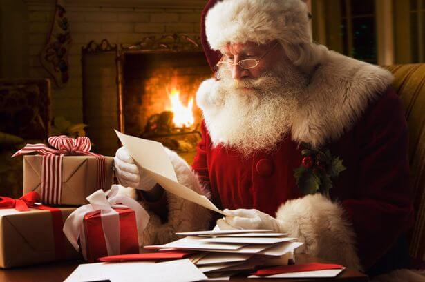 Santa Claus Reading Letter From Kids
