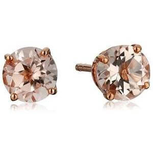 10k Rose Gold Morganite Round Stud Earrings