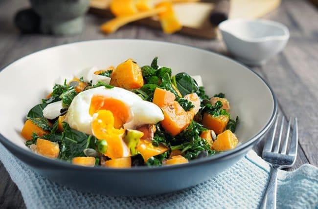 Sauteed Veggies with Avocado & Poached Eggs