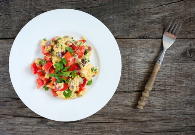 Scrambled Eggs with Tomatoes, Herbs and Goat Cheese