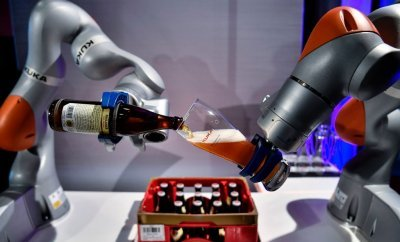 Robot arms pouring beer
